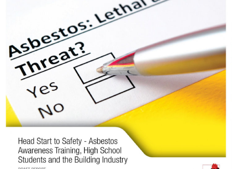 image of the from cover of the report - Head Start to Safety - Asbestos Awareness Training, High School Students and the Building Industry